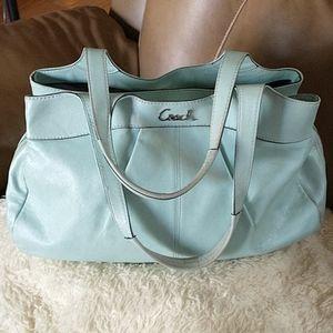 COACH Lexington Aqua Marine Leather Handbag